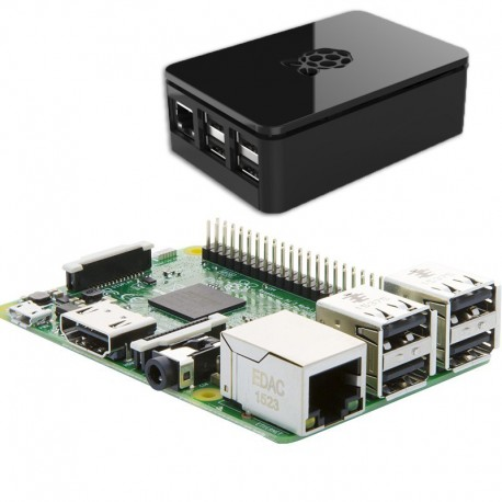 Pack Raspberry PI 3 + black case PI3